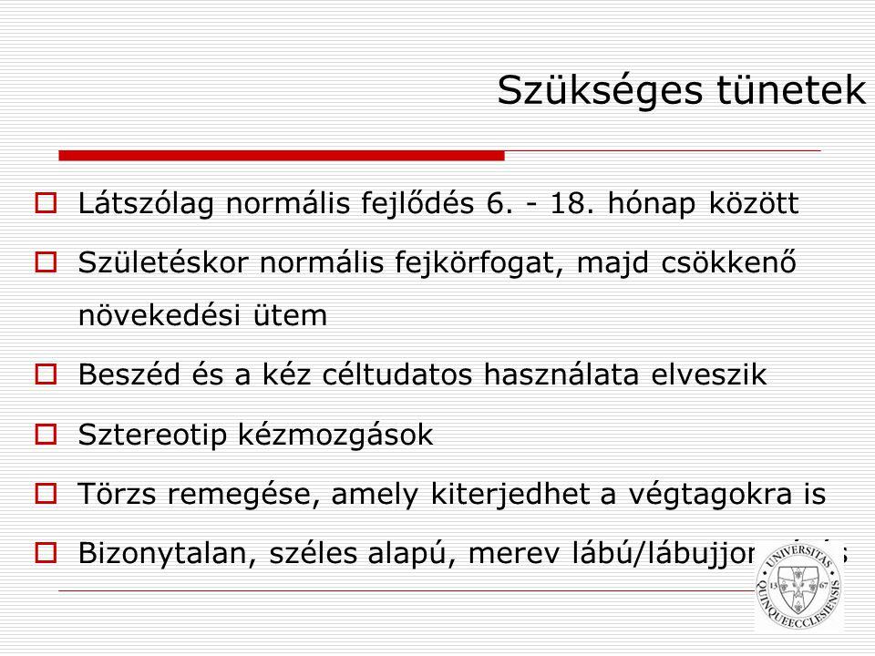 Szükséges tünetek Látszólag normális fejlődés 6. - 18. hónap között