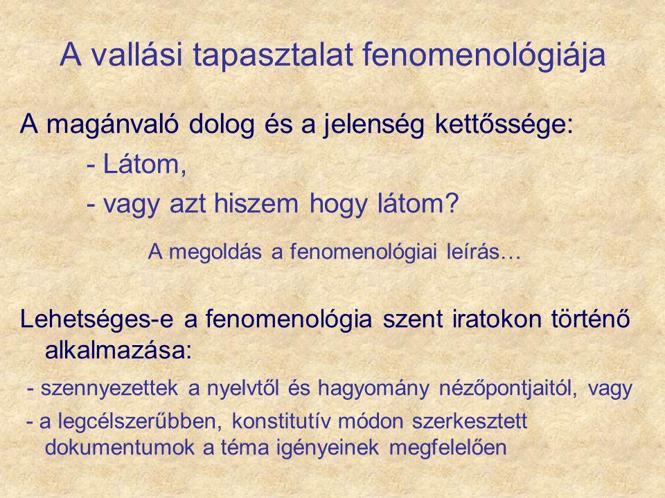 A vallási tapasztalat fenomenológiája