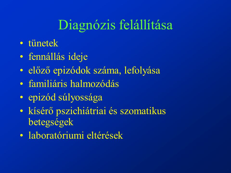 Diagnózis felállítása