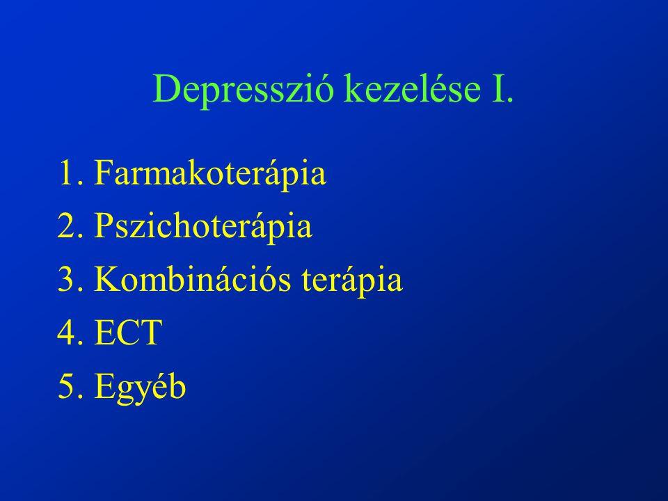 Depresszió kezelése I. 1. Farmakoterápia 2. Pszichoterápia