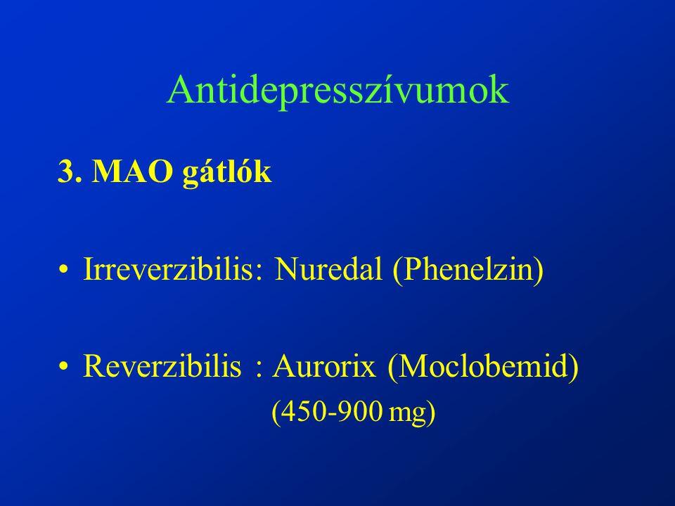 Antidepresszívumok 3. MAO gátlók Irreverzibilis: Nuredal (Phenelzin)