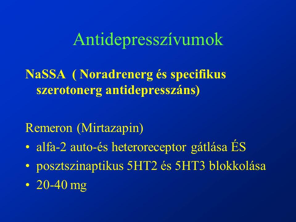 Antidepresszívumok NaSSA ( Noradrenerg és specifikus szerotonerg antidepresszáns) Remeron (Mirtazapin)