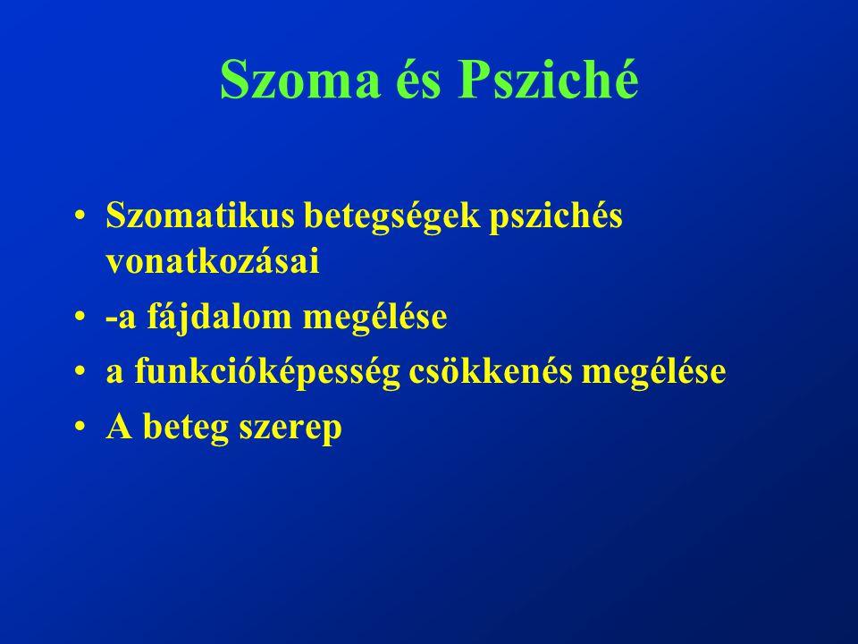 Szoma és Psziché Szomatikus betegségek pszichés vonatkozásai