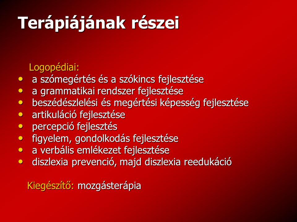 Terápiájának részei Logopédiai: