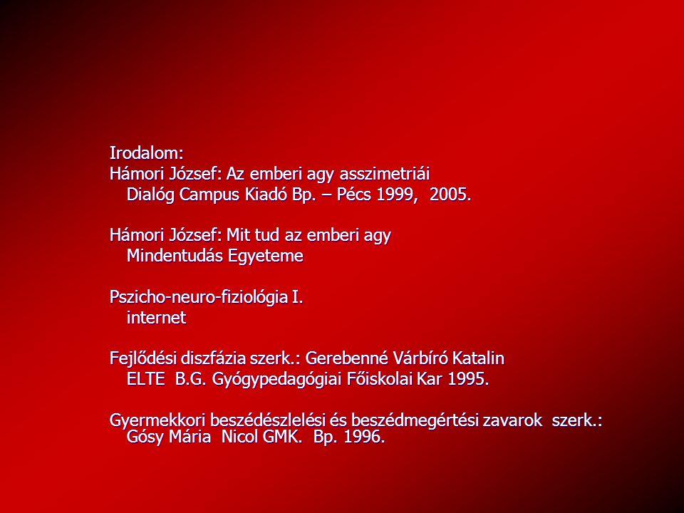 Irodalom: Hámori József: Az emberi agy asszimetriái. Dialóg Campus Kiadó Bp. – Pécs 1999, 2005. Hámori József: Mit tud az emberi agy.