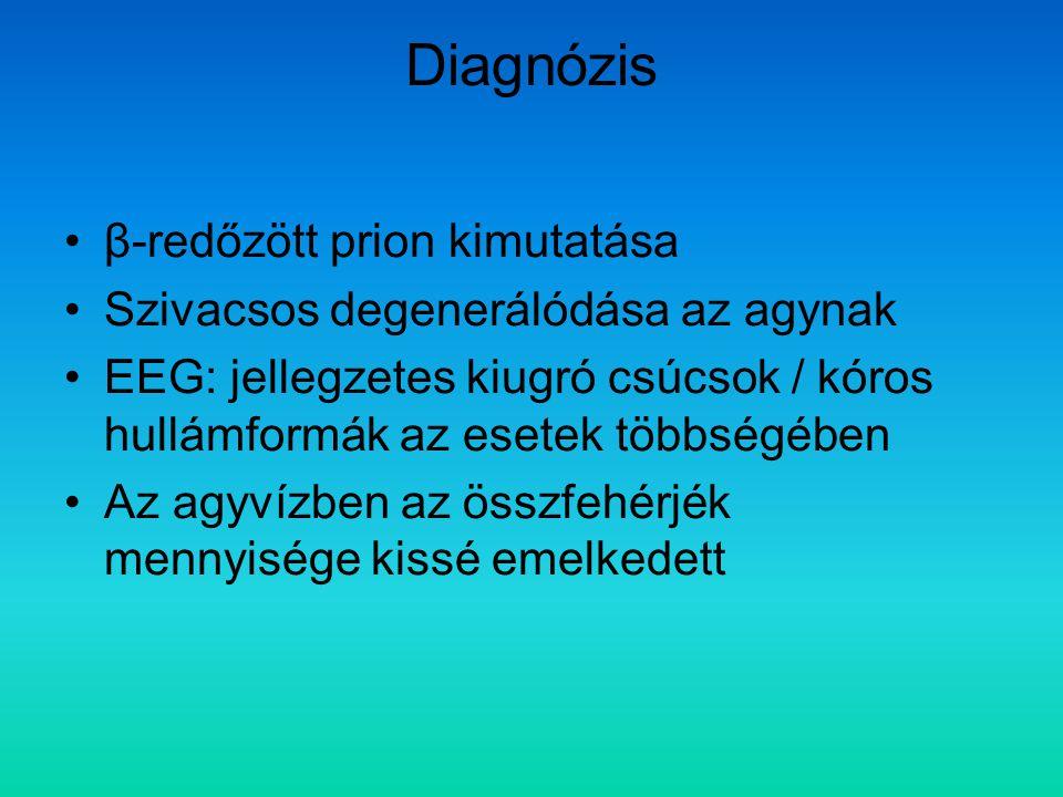 Diagnózis β-redőzött prion kimutatása