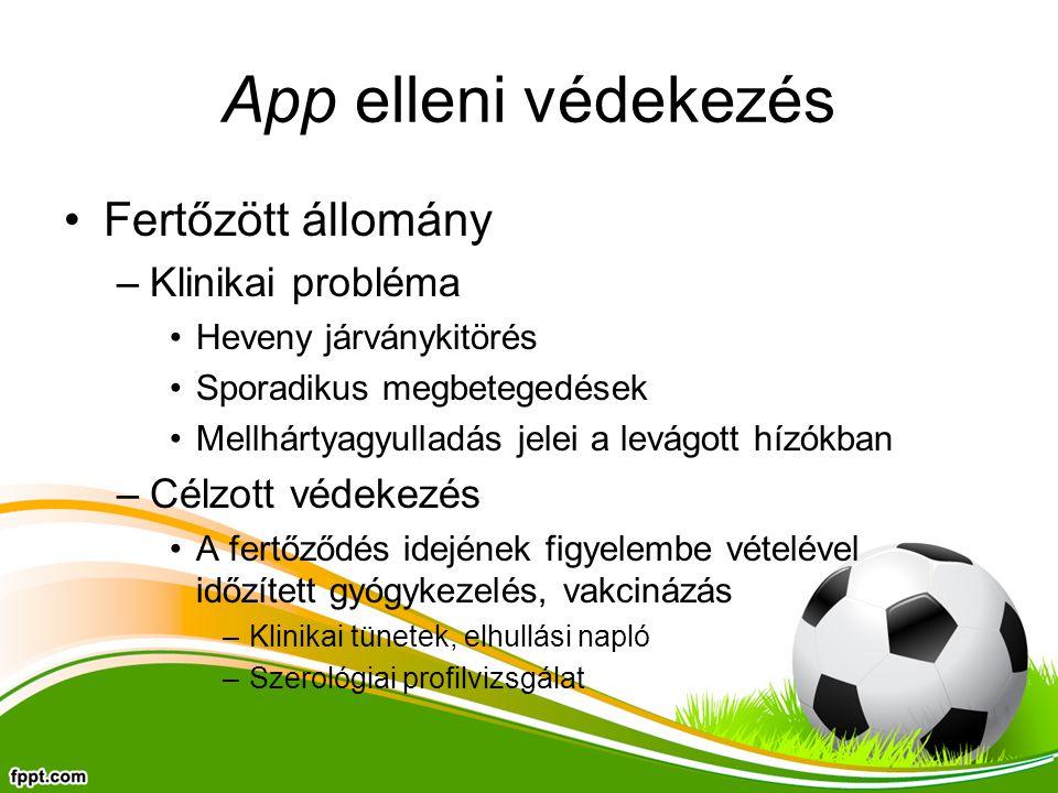 App elleni védekezés Fertőzött állomány Klinikai probléma