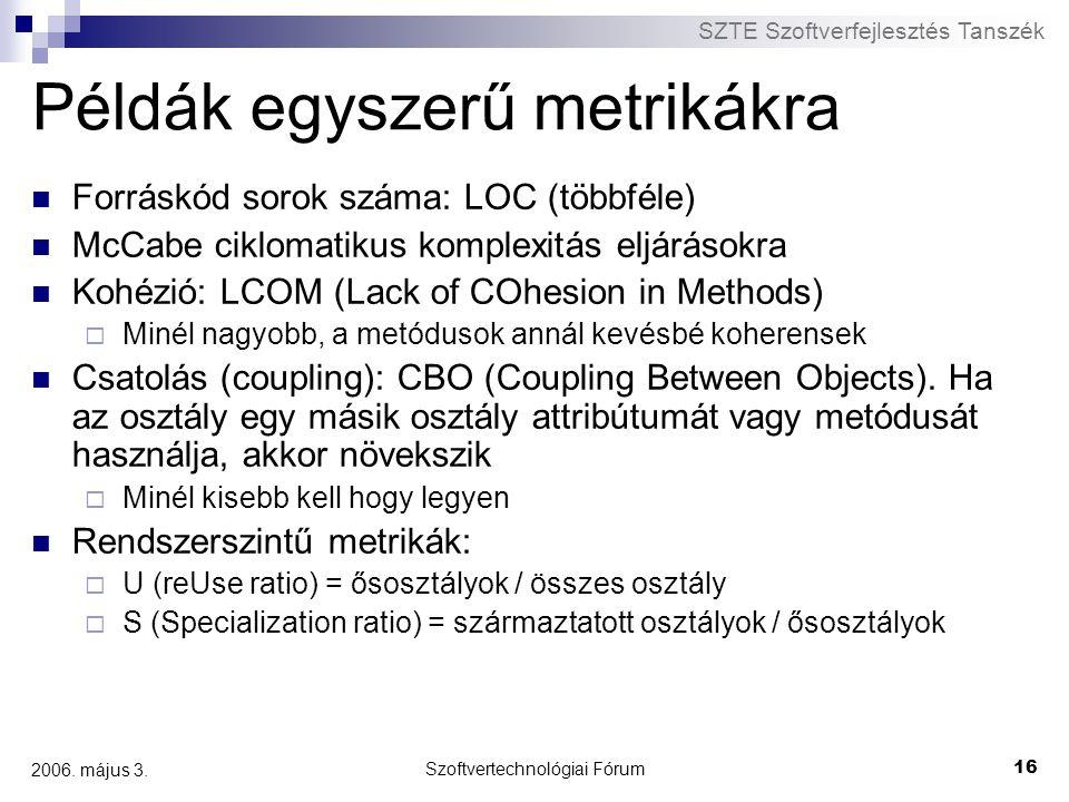 Példák egyszerű metrikákra
