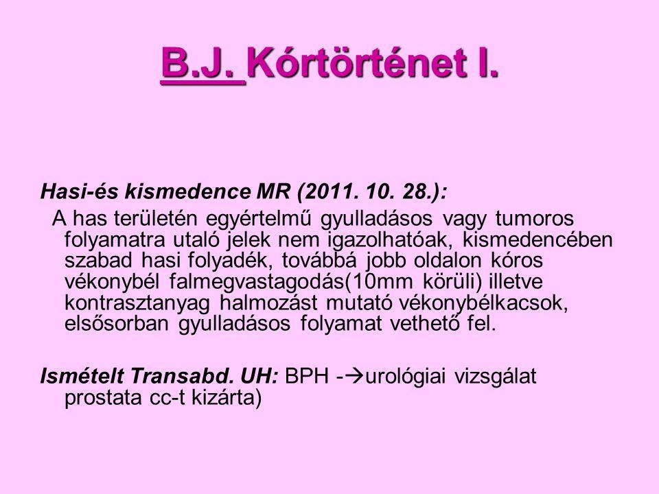 B.J. Kórtörténet I. Hasi-és kismedence MR (2011. 10. 28.):