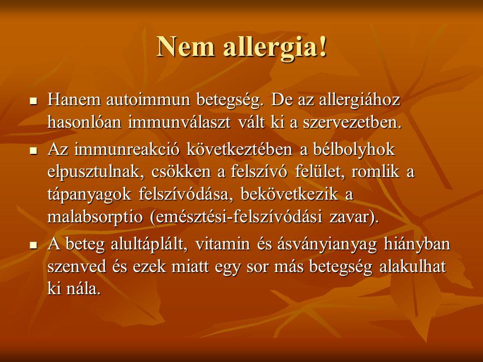 Nem allergia! Hanem autoimmun betegség. De az allergiához hasonlóan immunválaszt vált ki a szervezetben.