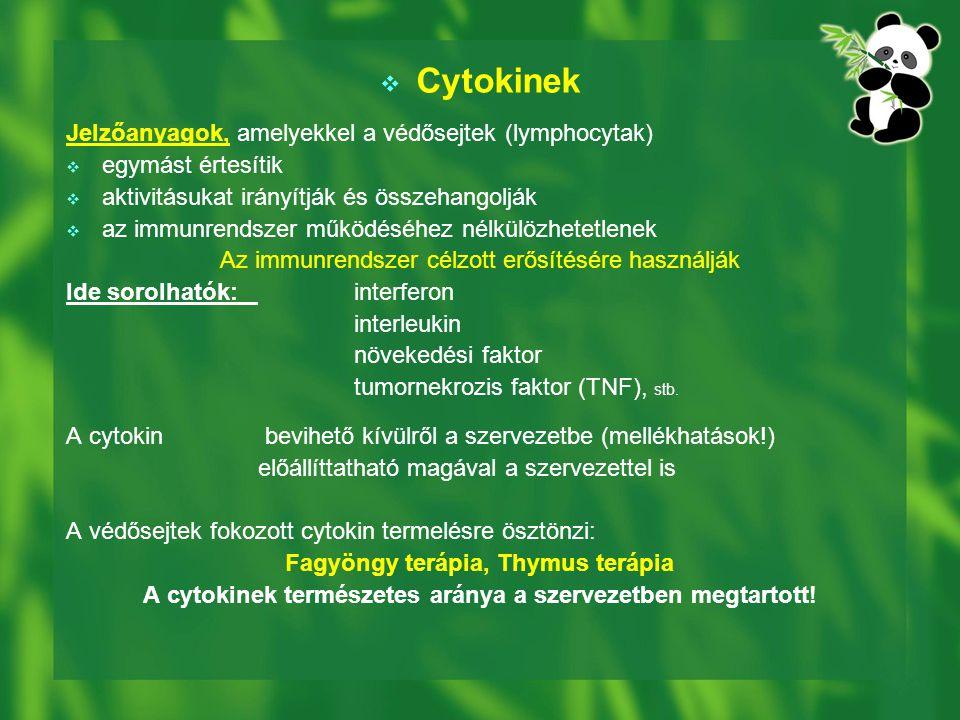 Cytokinek Jelzőanyagok, amelyekkel a védősejtek (lymphocytak)