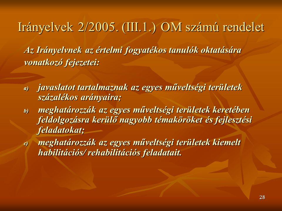 Irányelvek 2/2005. (III.1.) OM számú rendelet