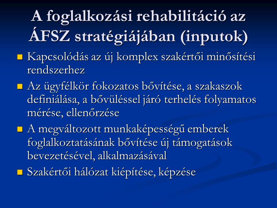 A foglalkozási rehabilitáció az ÁFSZ stratégiájában (inputok)