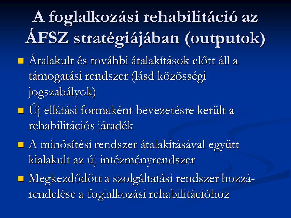 A foglalkozási rehabilitáció az ÁFSZ stratégiájában (outputok)