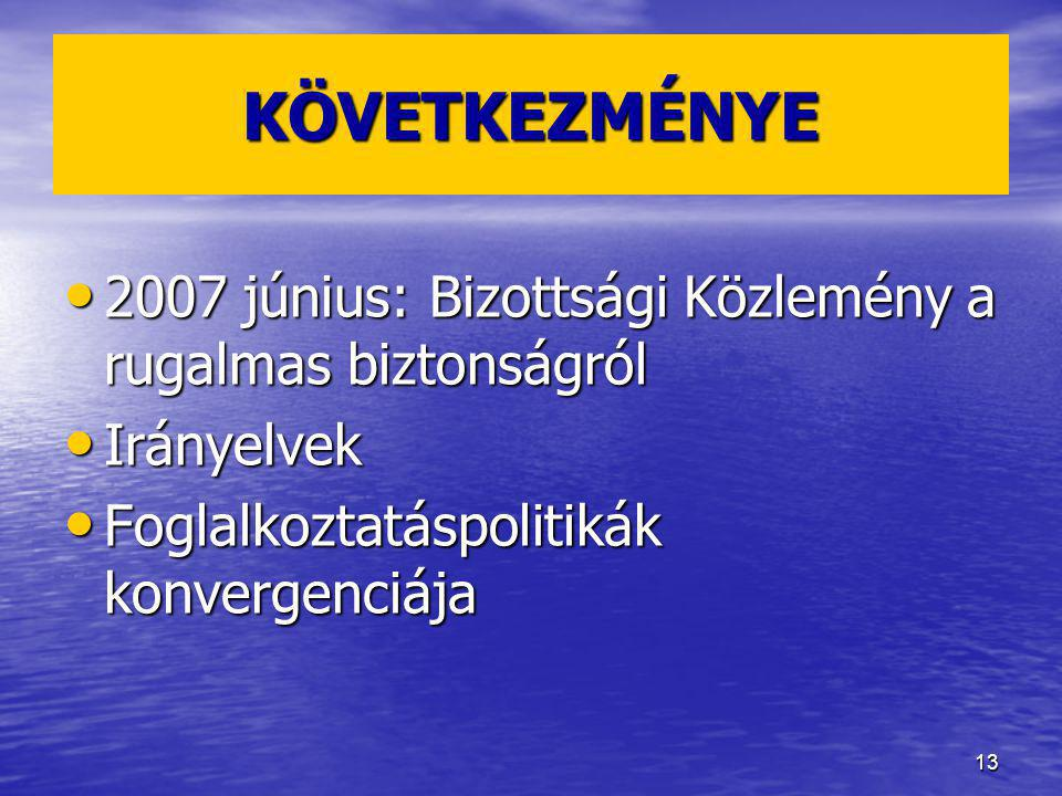 KÖVETKEZMÉNYE 2007 június: Bizottsági Közlemény a rugalmas biztonságról.