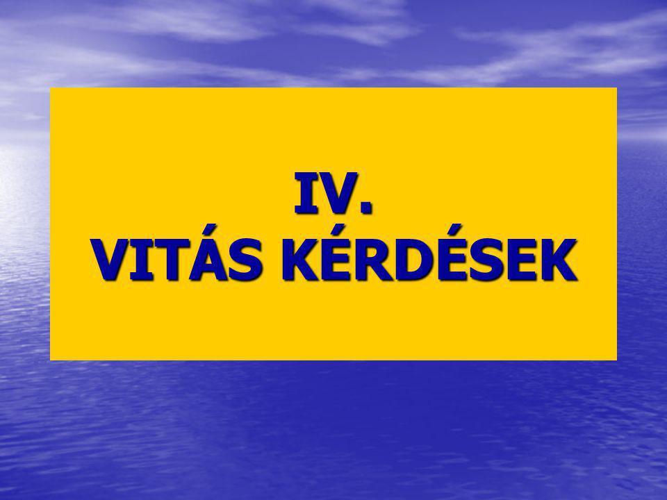 IV. VITÁS KÉRDÉSEK