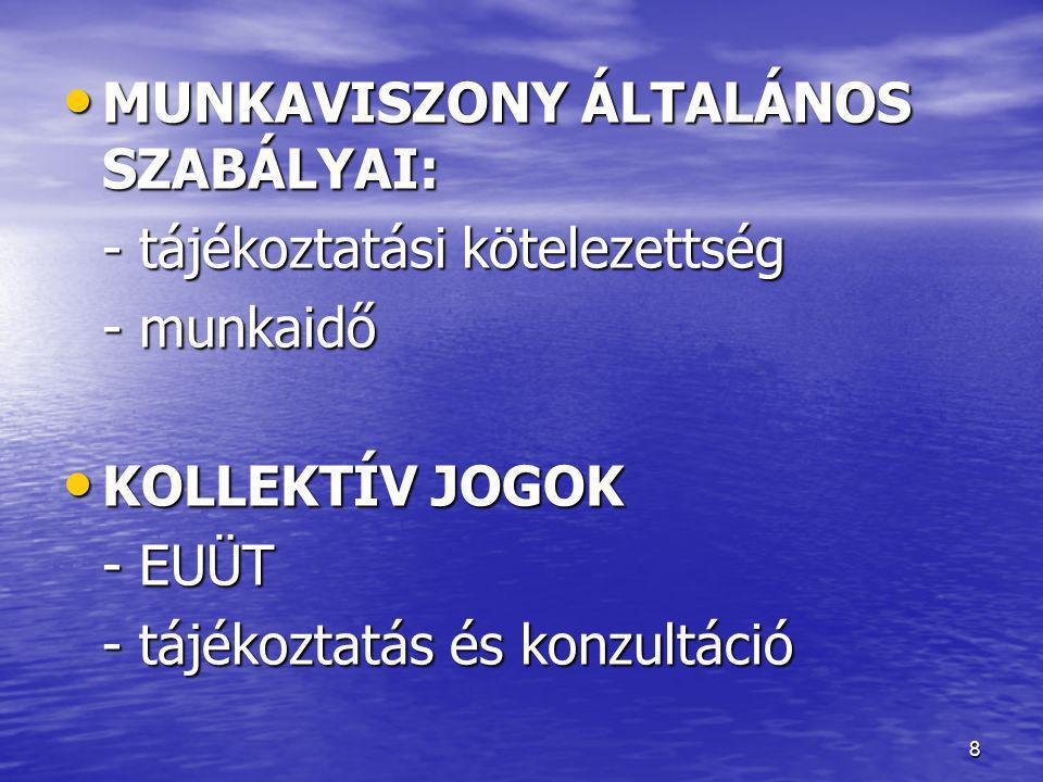 MUNKAVISZONY ÁLTALÁNOS SZABÁLYAI: