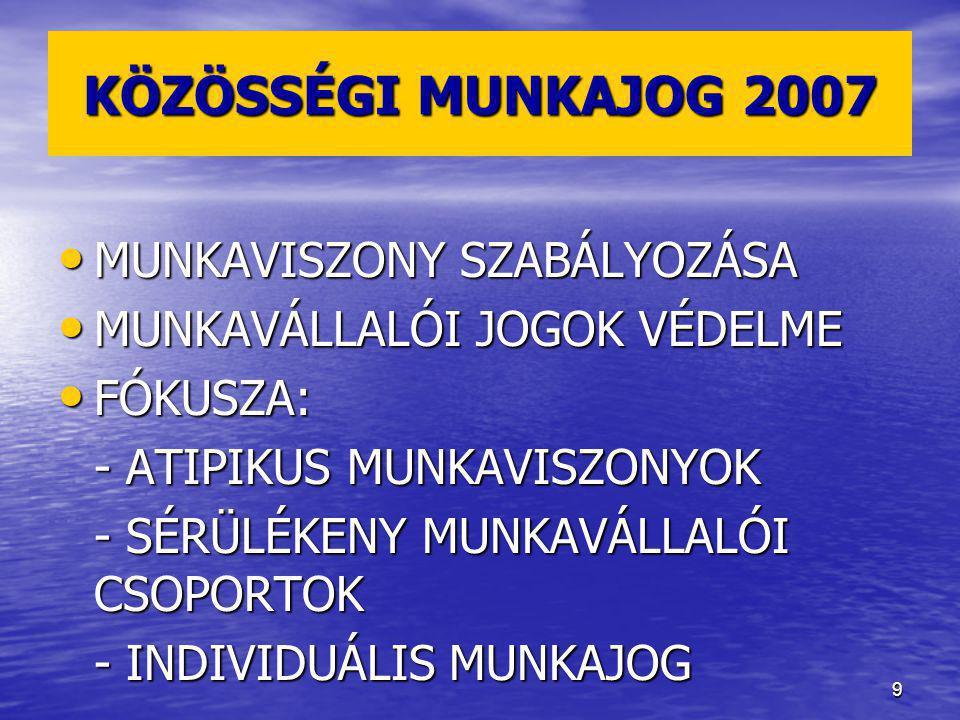 KÖZÖSSÉGI MUNKAJOG 2007 MUNKAVISZONY SZABÁLYOZÁSA