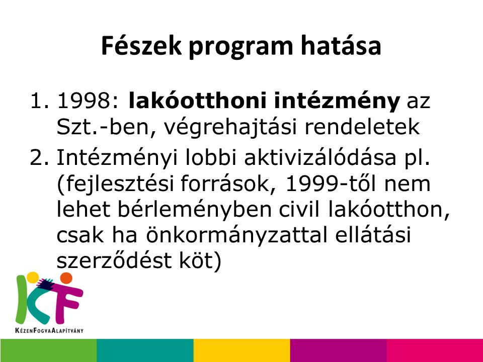 Fészek program hatása 1998: lakóotthoni intézmény az Szt.-ben, végrehajtási rendeletek.