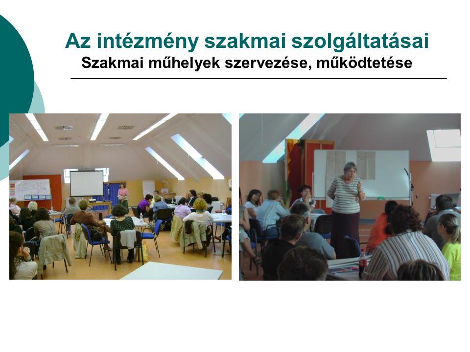 Az intézmény szakmai szolgáltatásai Szakmai műhelyek szervezése, működtetése