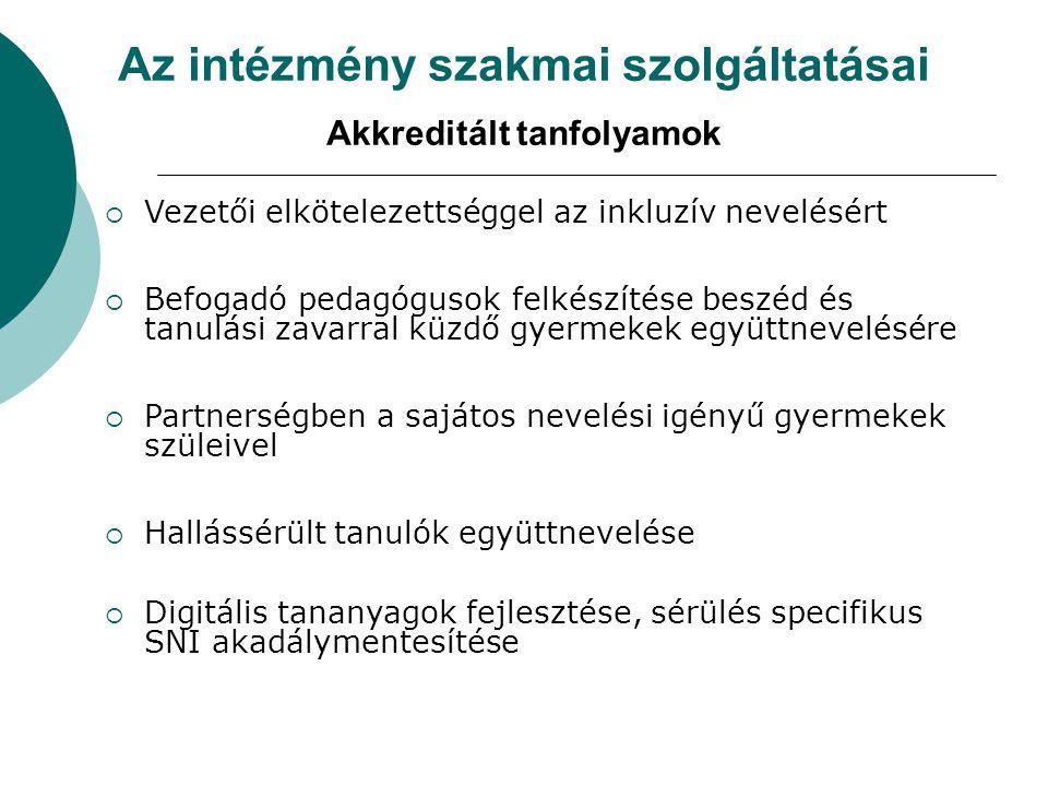 Az intézmény szakmai szolgáltatásai Akkreditált tanfolyamok