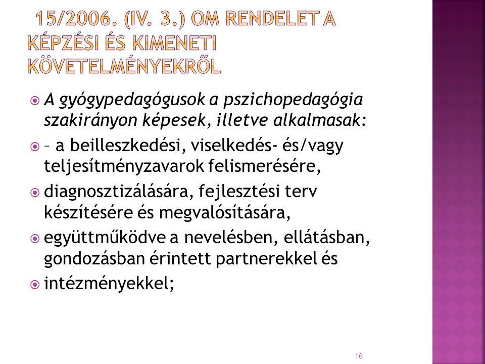 15/2006. (IV. 3.) OM rendelet a Képzési és Kimeneti Követelményekről