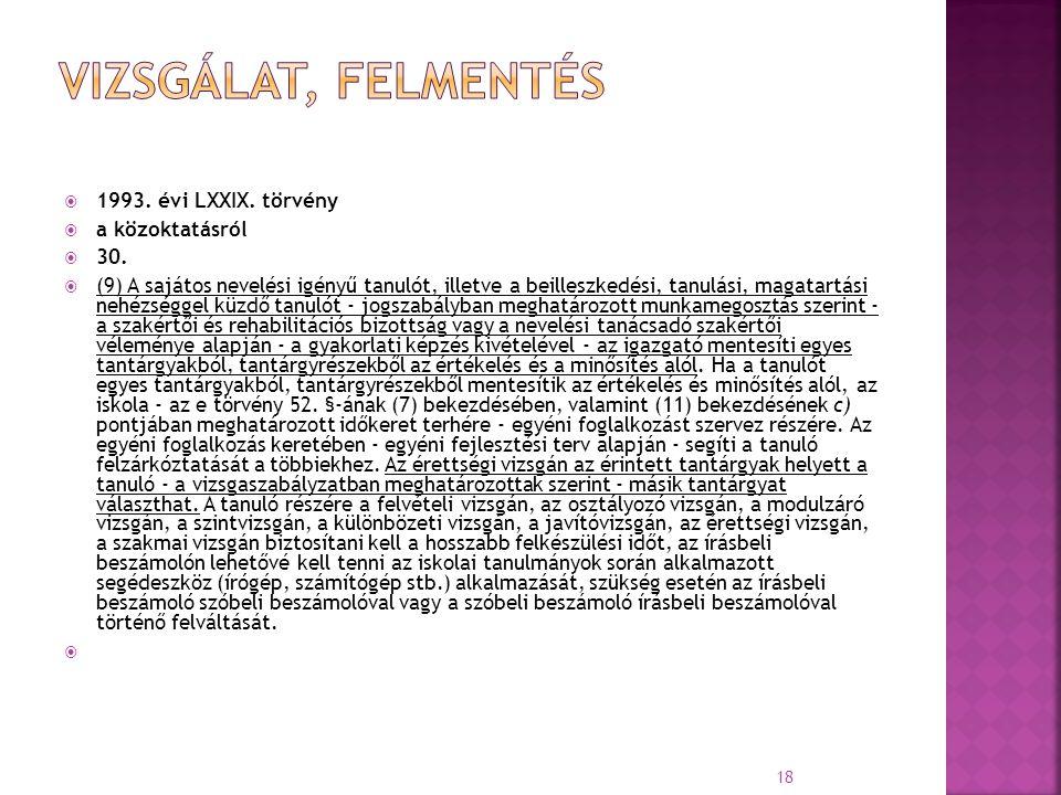 vizsgálat, felmentés 1993. évi LXXIX. törvény a közoktatásról 30.