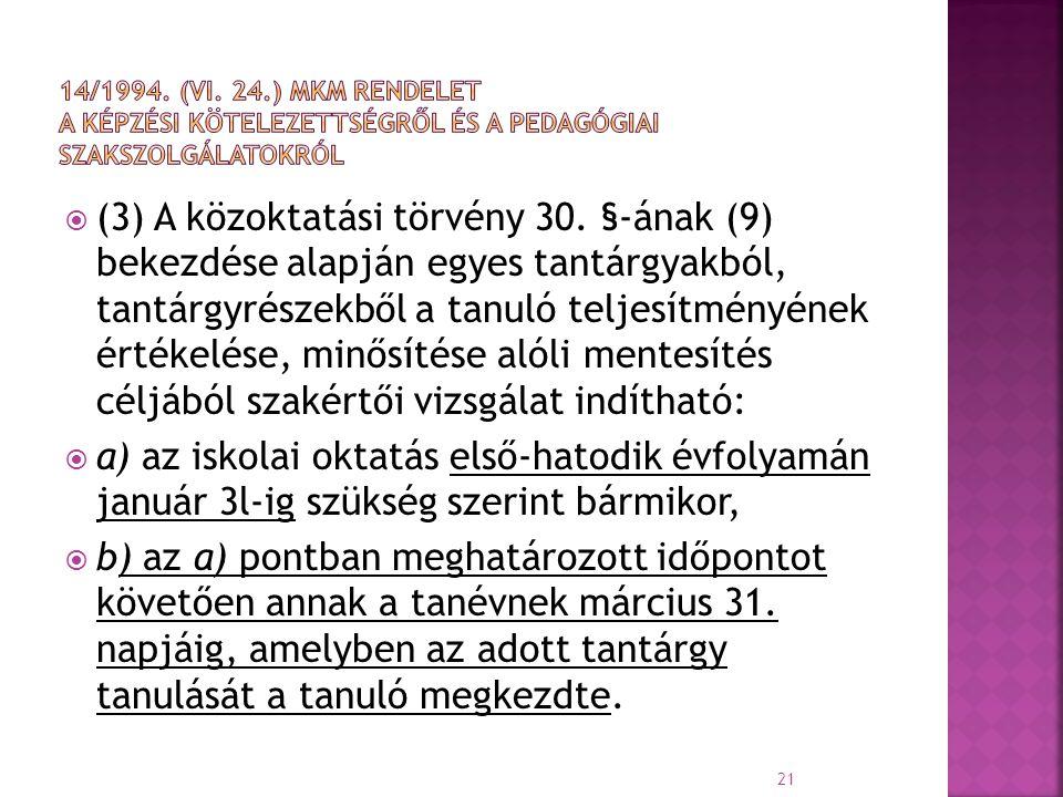 14/1994. (VI. 24.) MKM rendelet a képzési kötelezettségről és a pedagógiai Szakszolgálatokról