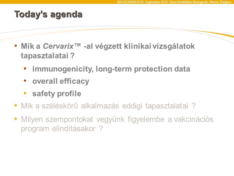 Today's agenda Mik a Cervarix™ -al végzett klinikai vizsgálatok tapasztalatai immunogenicity, long-term protection data.