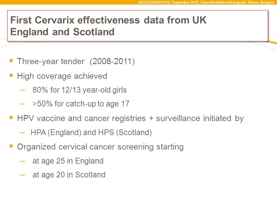 First Cervarix effectiveness data from UK England and Scotland