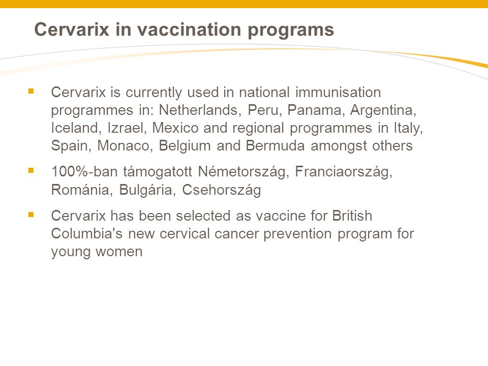 Cervarix in vaccination programs
