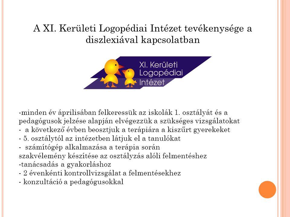 A XI. Kerületi Logopédiai Intézet tevékenysége a diszlexiával kapcsolatban