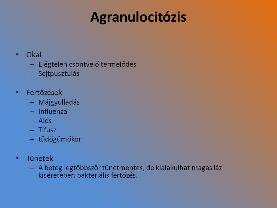 Agranulocitózis Okai Fertőzések Tünetek Elégtelen csontvelő termelődés