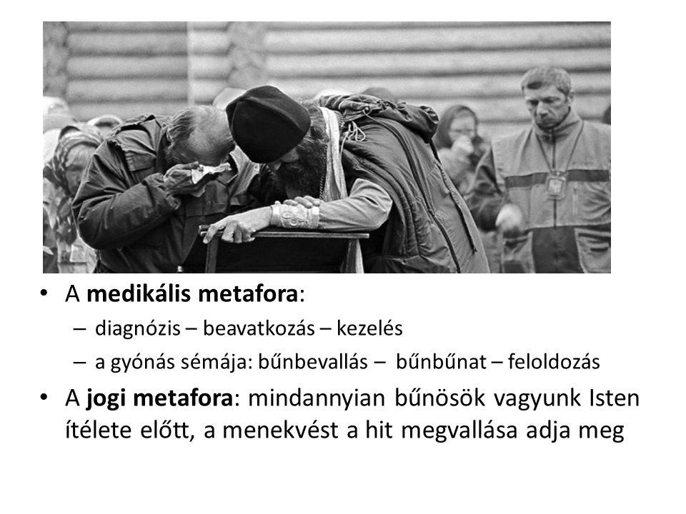 A medikális metafora: diagnózis – beavatkozás – kezelés. a gyónás sémája: bűnbevallás – bűnbűnat – feloldozás.