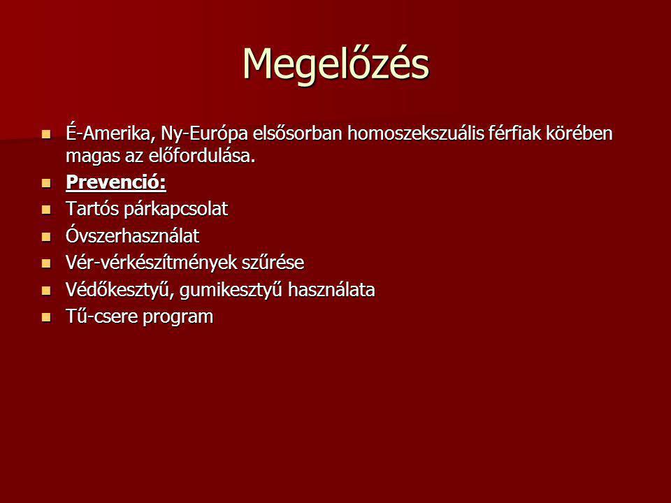 Megelőzés É-Amerika, Ny-Európa elsősorban homoszekszuális férfiak körében magas az előfordulása. Prevenció: