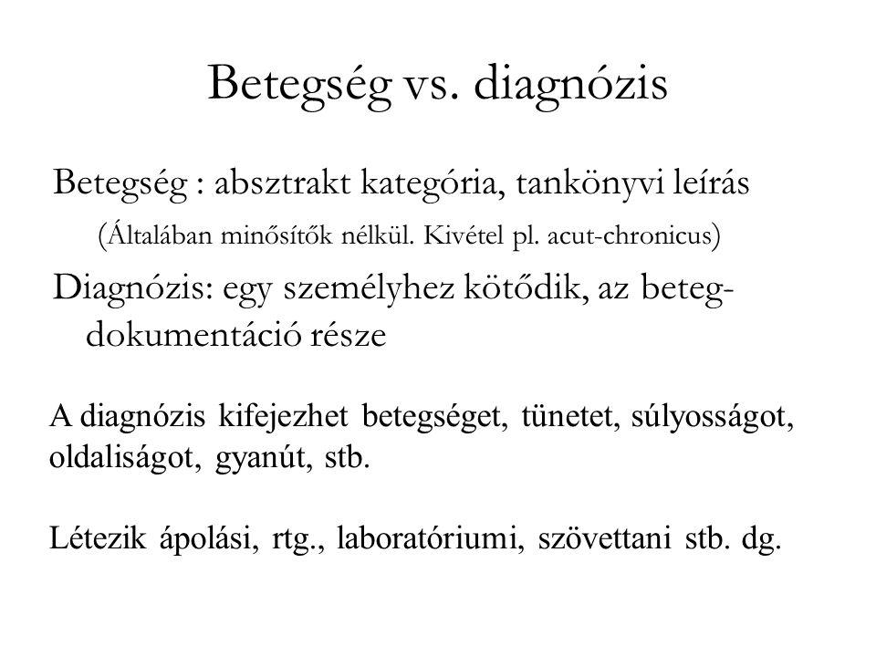 Betegség vs. diagnózis Betegség : absztrakt kategória, tankönyvi leírás. (Általában minősítők nélkül. Kivétel pl. acut-chronicus)