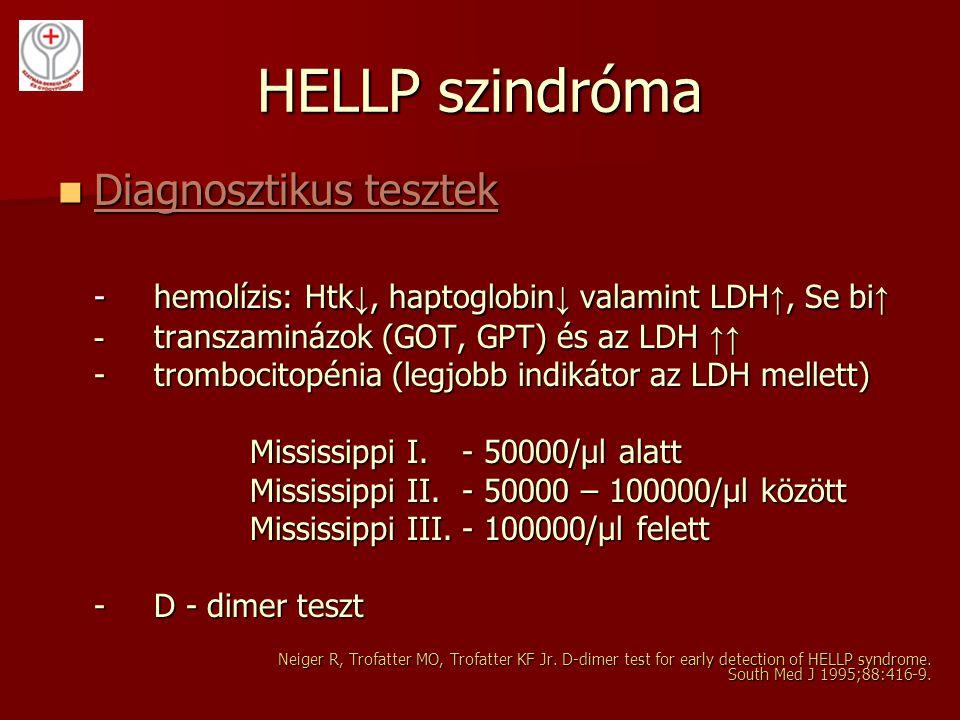 HELLP szindróma Diagnosztikus tesztek