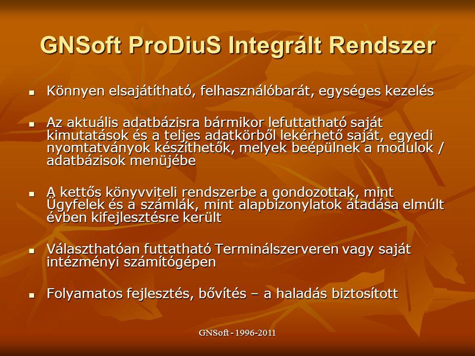 GNSoft ProDiuS Integrált Rendszer