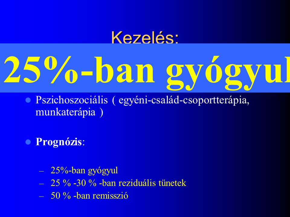 25%-ban gyógyul Kezelés: Gyógyszeres
