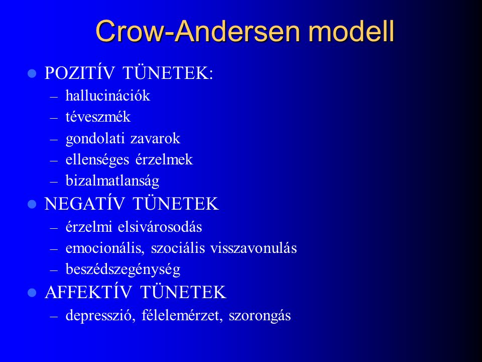 Crow-Andersen modell POZITÍV TÜNETEK: NEGATÍV TÜNETEK AFFEKTÍV TÜNETEK