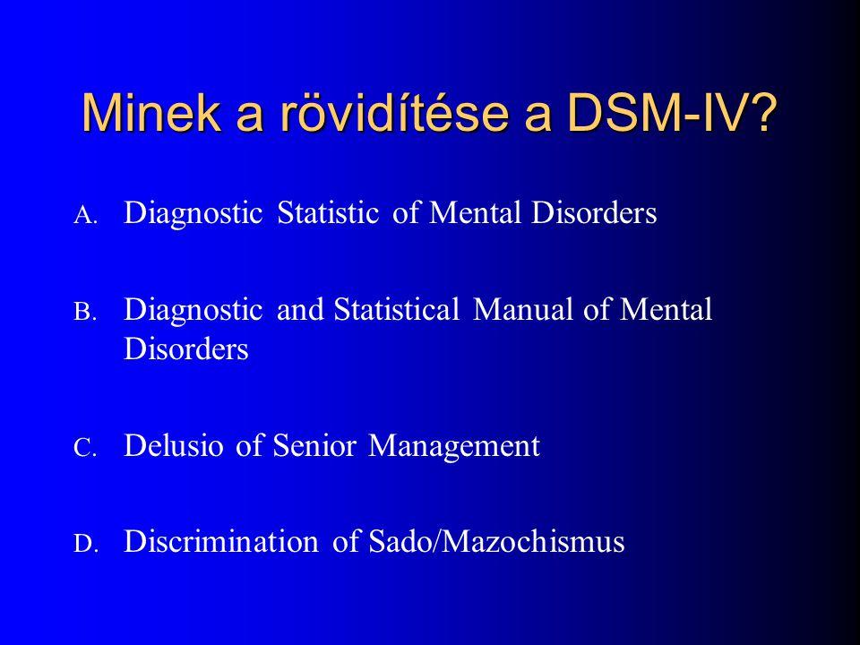 Minek a rövidítése a DSM-IV
