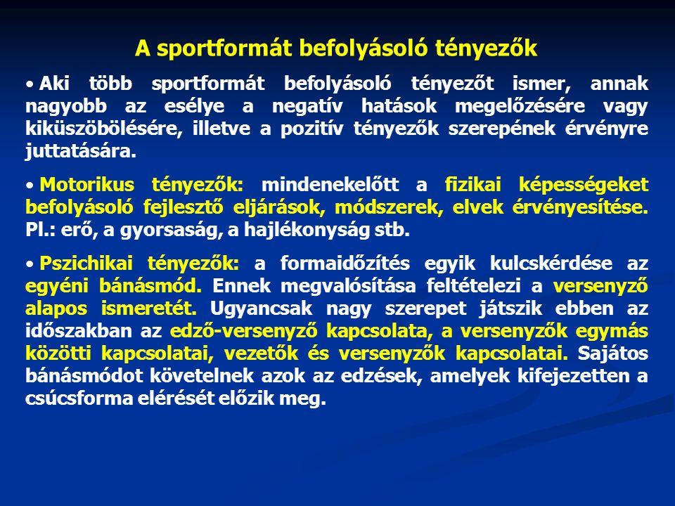 A sportformát befolyásoló tényezők