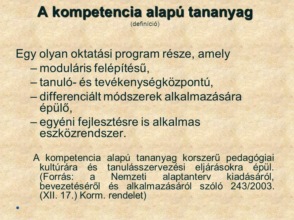 A kompetencia alapú tananyag (definíció)