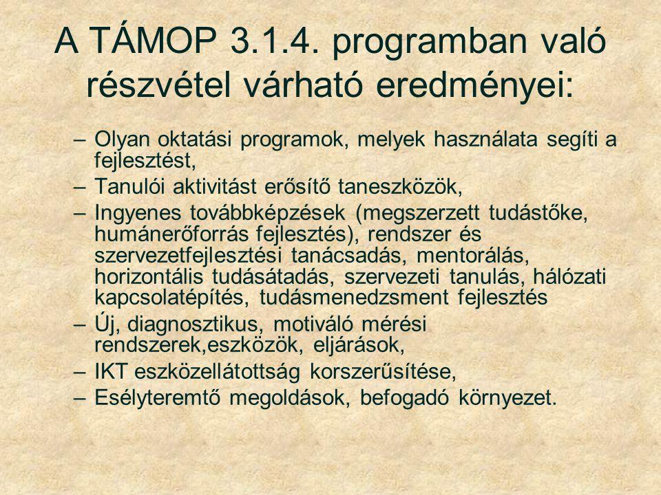A TÁMOP 3.1.4. programban való részvétel várható eredményei: