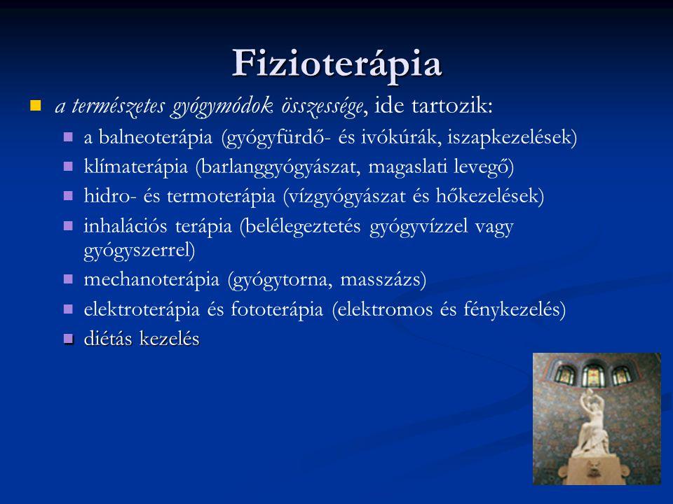 Fizioterápia a természetes gyógymódok összessége, ide tartozik: