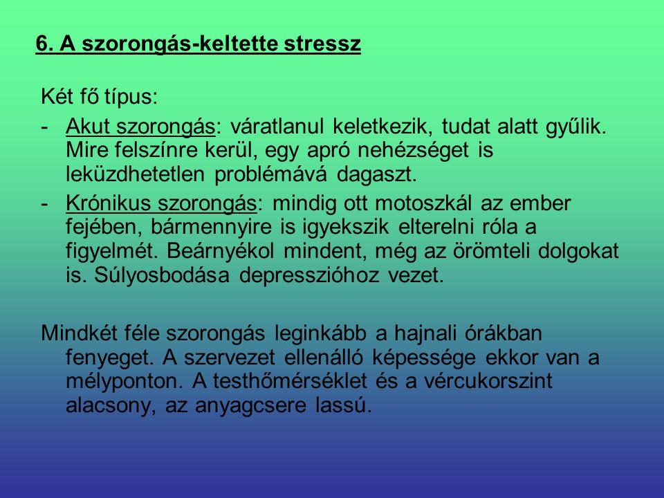 6. A szorongás-keltette stressz