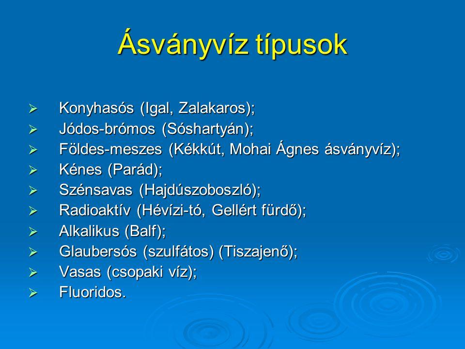 Ásványvíz típusok Konyhasós (Igal, Zalakaros);