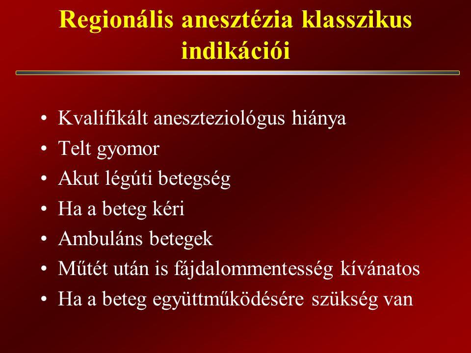Regionális anesztézia klasszikus indikációi