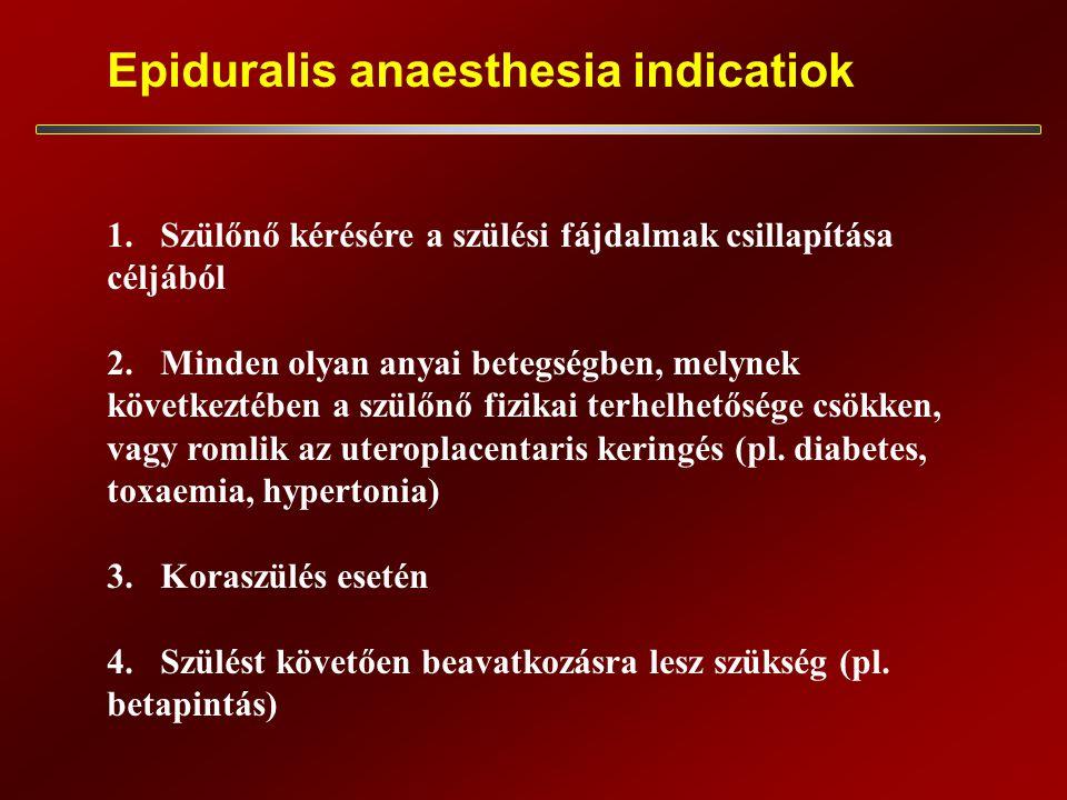 Epiduralis anaesthesia indicatiok