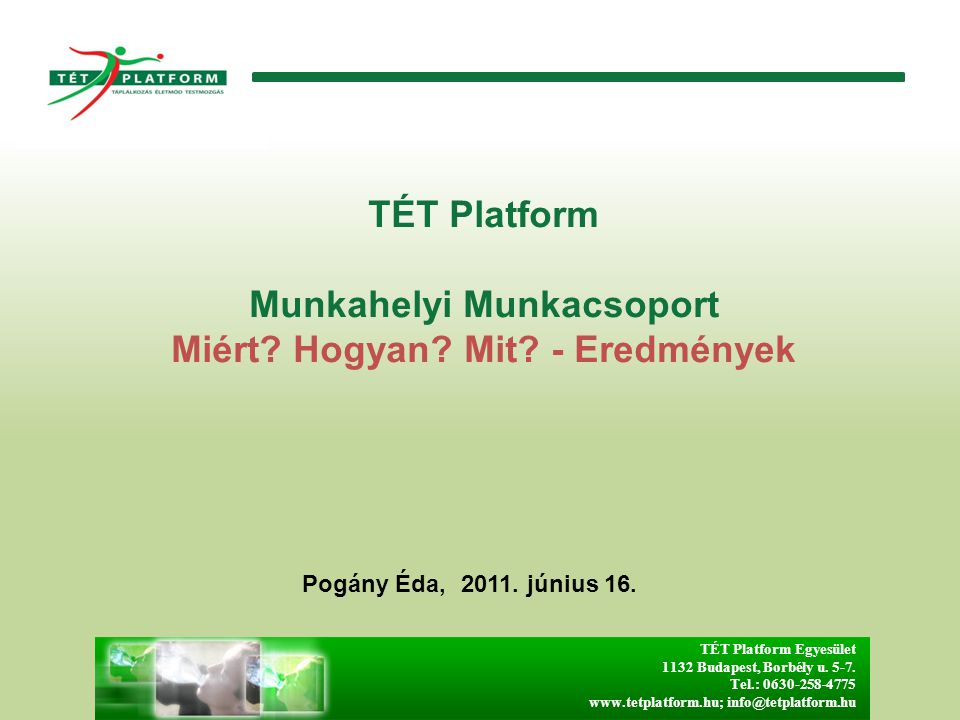 TÉT Platform Munkahelyi Munkacsoport Miért Hogyan Mit - Eredmények